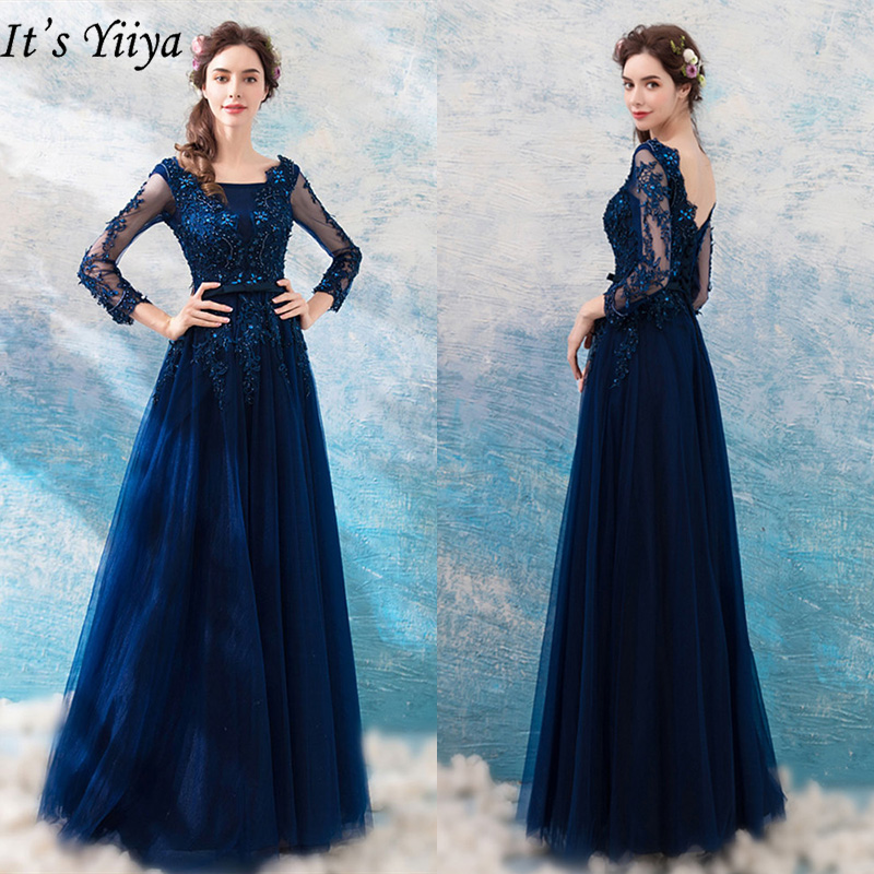 It's Yiiya Evening Dresses 2019 Long Sleeve Luxury Flower Embroidery Floor Length Dresses Sexy Backless Slim Formal Dress LX276