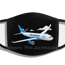 Sardinhas de ar design internacional preto respirável reutilizável boca máscara ar sardinhas avião internacional airbus boeing aeroporto