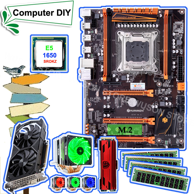 HUANANZHI Deluxe X79 Motherboard With M.2 240G NVME SSD 2280 Intel Xeon E5 1650 C2 With Cooler 4*8G DDR3 1600 RECC GTX1050Ti 4G
