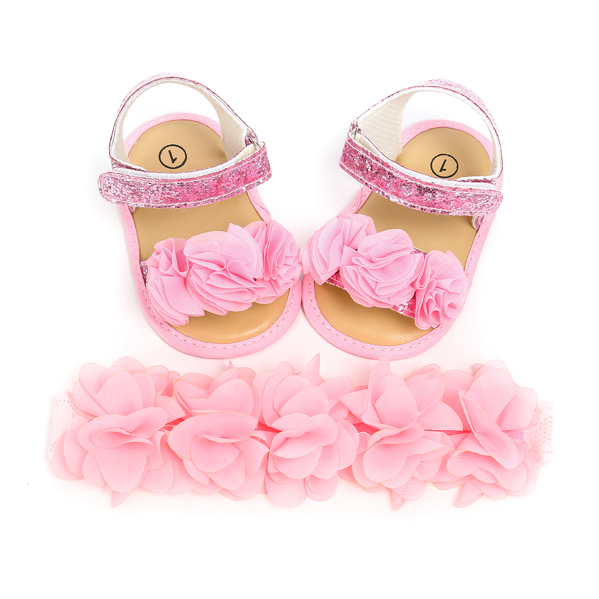 Infant Newborn Baby Girl Sandals Cute Flower Appliques Girl Sandal Clogs Shoes Zapatos Bebe With Headband