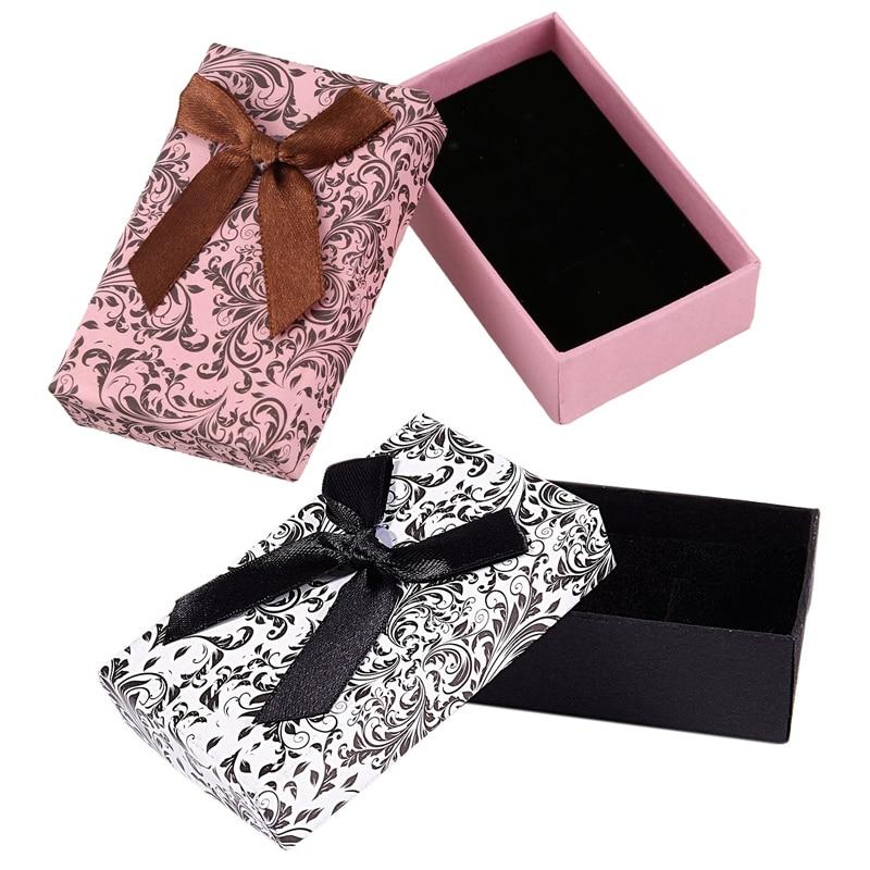 2 Pcs Jewellery Gift Boxes Necklace Pendant Bracelet Ring Display Storage Holder , Pink & Black