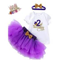 Наряд на 2-й день рождения, одежда для маленьких девочек, вечернее платье-пачка для новорожденных, бутиковая одежда для крещения для маленьк...