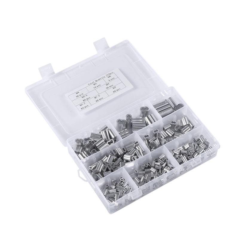 HHO-315Pcs 8 Sizes Aluminum Crimping Loop Sleeve Metric Assortment Kit For Wire Rope Cable Rigging