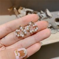 MENGJIQIAO nouveau élégant creux perle fleur doux cercle boucles d'oreilles pour les femmes mode mignon fête Bijoux Brincos Bijoux cadeaux