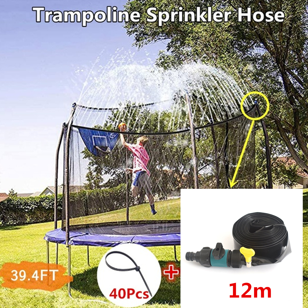 12m Trampoline Sprinkler Hose 39.4FT Trampoline Water Park Sprinkler Household Garden Sprinkler Hose Outdoor Water Party