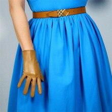 Short Style Leather Gloves 21cm Basic Emulation Sheepskin Light Brown Camel Milk Tea Color Nude Women PU WPU41