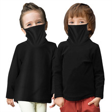Blouse T-Shirts Face-Mask Turtleneck Long-Sleeve Little-Boy Tops Girls Boys Kids Cotton