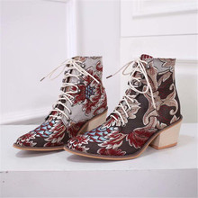 Buy LOOZYKIT  2019 New Autumn Retro Women Embroidery Flower Short Boots Lady Elegant Lace Up Ankle Boots Female Chunky Botas Mujer directly from merchant!