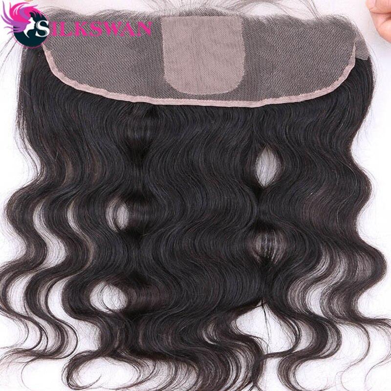 Silk Base Frontal Brazilian Remy hair Body Wave Human Hair 13x4 Ear To Ear Closure Silkswan Free Part Silk Top Closure