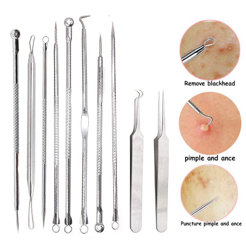 Black Dot Pimple Blackhead Remover Tool Needles For Squeezing Acne Tools Spoon For Face Cleaning Comedone Extractor Pore Cleaner