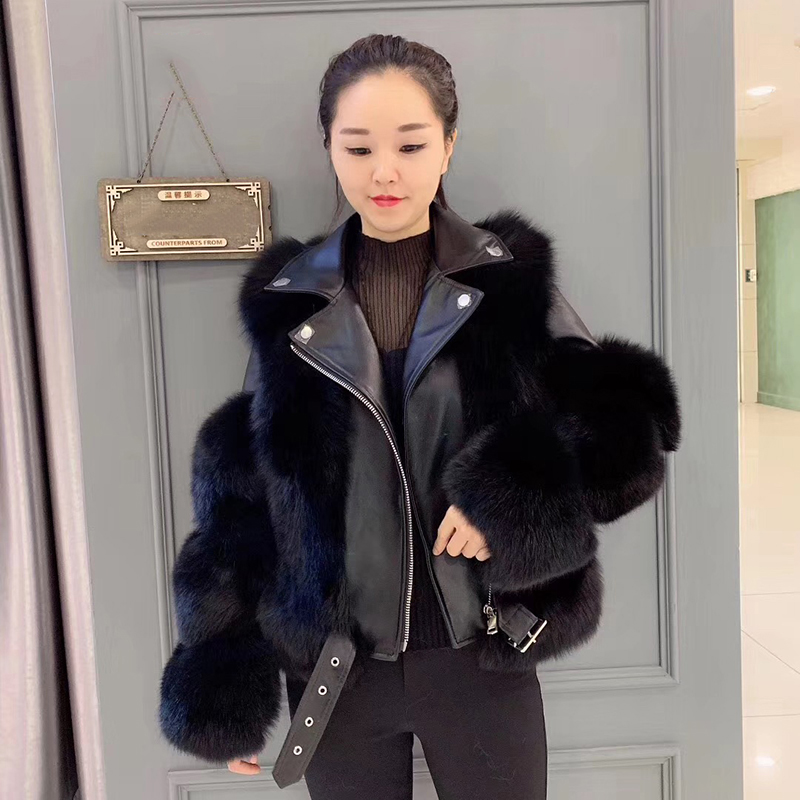 Rf2061 2019 Winter New Style Aviator Fashion Fox Fur Jacket Woman Genuine Leather Natural Fur Coat With Belt