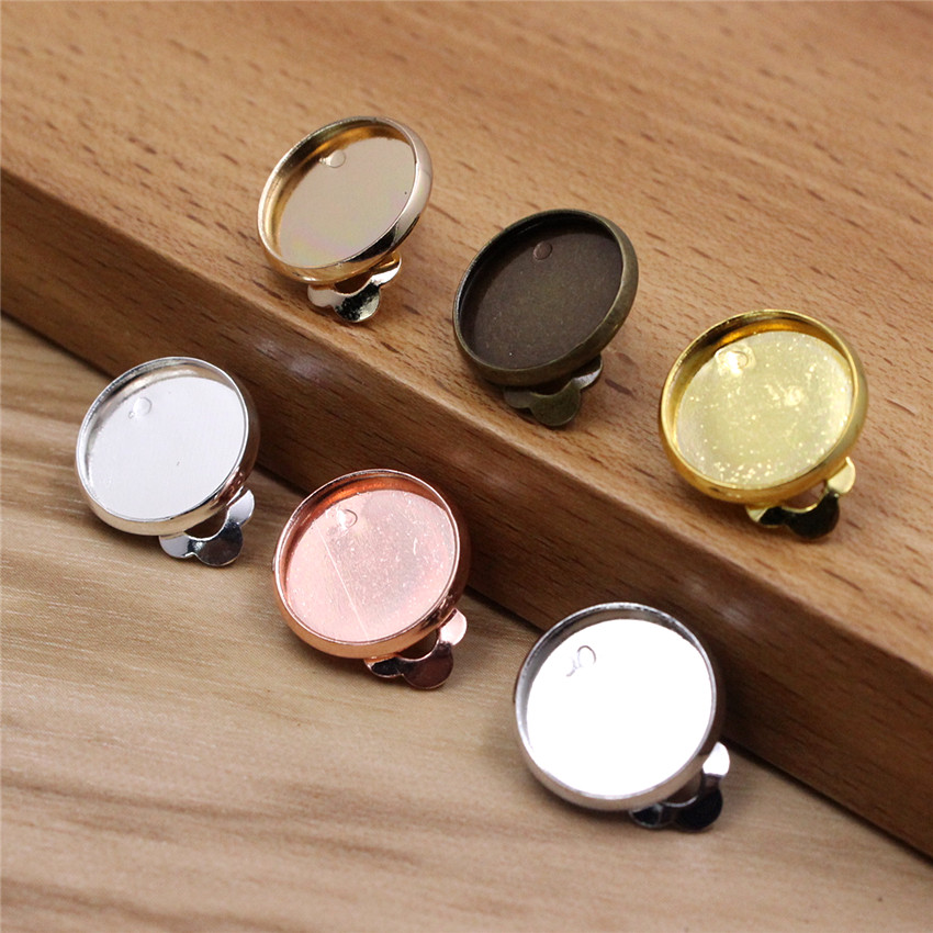 Fit 10mm 12mm 14mm 16mm 18mm Round Cabochons Copper Ear Clip  Blank Setting Bezel Blank Base Earring For DIY Accessory 20pcs