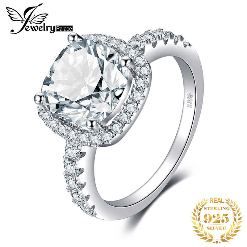 JewelryPalace 3ct CZ Halo Engagement Ring 925 Sterling Silver Rings for Women Anniversary Ring Wedding Rings Silver 925 Jewelry