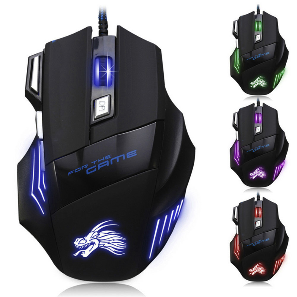 CARPRIE  5500 DPI 7 Button LED Optical USB Wired Gaming Mouse Mice For Pro Gamer Professional Mouse Mice Cable Mouse PC