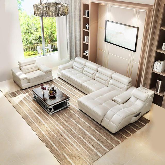 Living room Sofa set диван мебель кровать muebles de sala L shape massage  leather sofa cama puff asiento sala futon 2