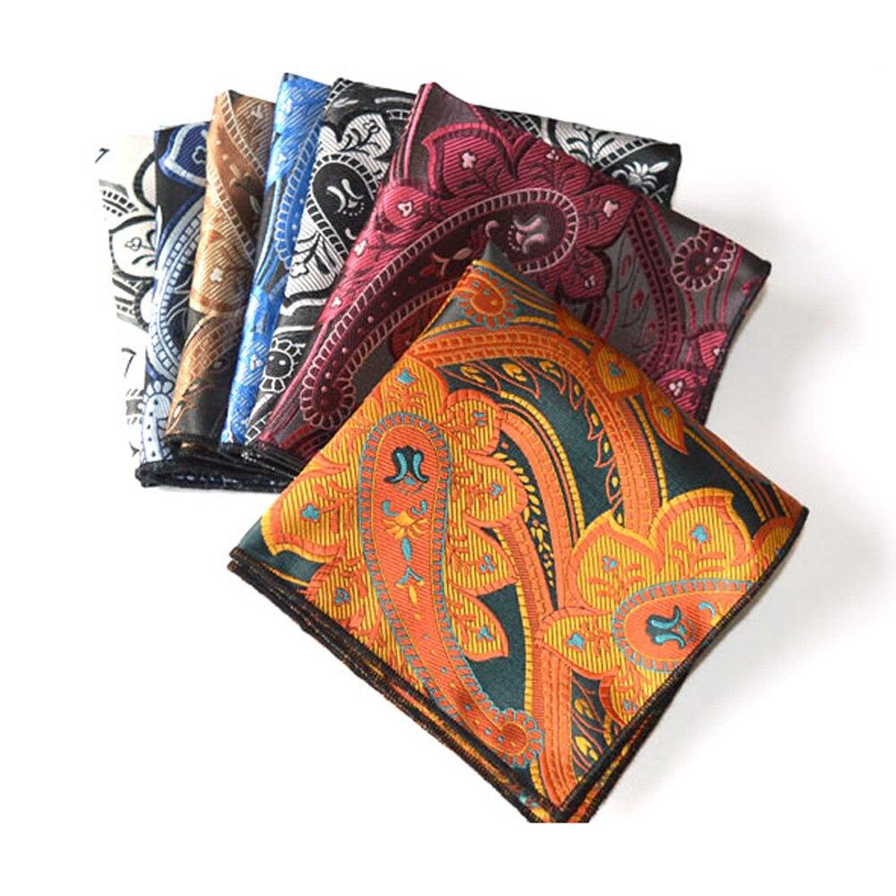 7 PCS Men's Paisley Printed Pocket Square High Grade Business Handkerchief Hanky BWTYX0331A