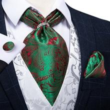 Новый дизайн мужские Аскот с золотом серебряное кольцо Зеленый Пейсли цветочные шелковый галстук галстук носовой платок комплект DiBanGu