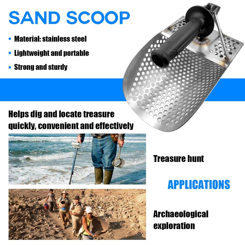 Pelle de détecteur de métaux de Scoop de sable de plage avec la poignée détecteurs de métaux d'acier inoxydable outil rapide de détection de métal de tamisage - 2
