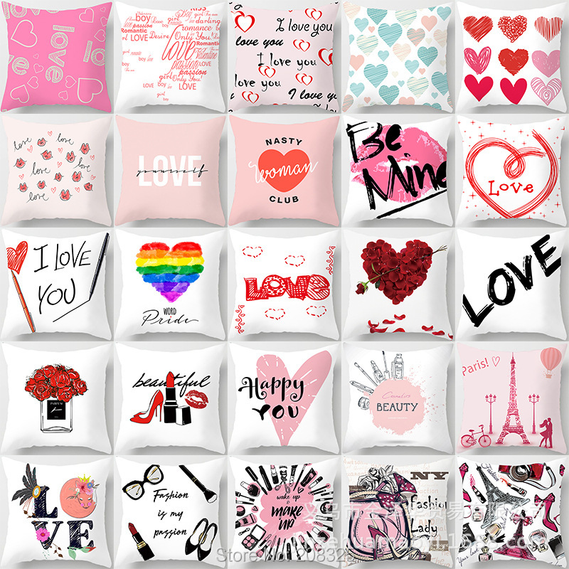 ZENGIA Red Valentine Day Gift Decoration Cushion Cover 45x45cm Heart I LOVE YOU Print Pillow Cover For Couple Home Decor Case
