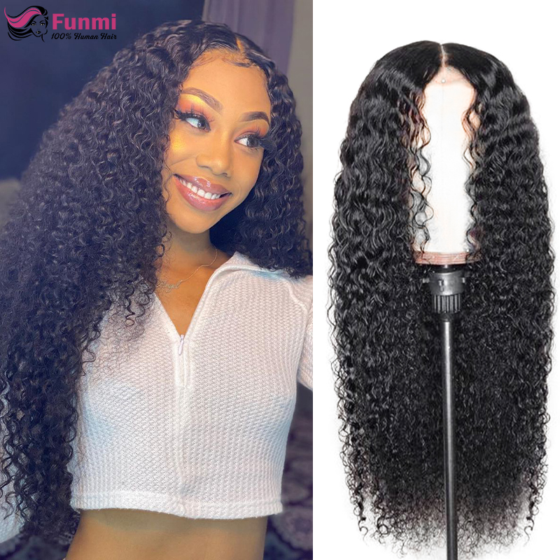 Mongolian Kinky Curly Lace Front Wig Pre Plucked Curly Human Hair Wig 13x4 Lace Frong Human Hair Wigs 150% Bouncy Curly Wigs