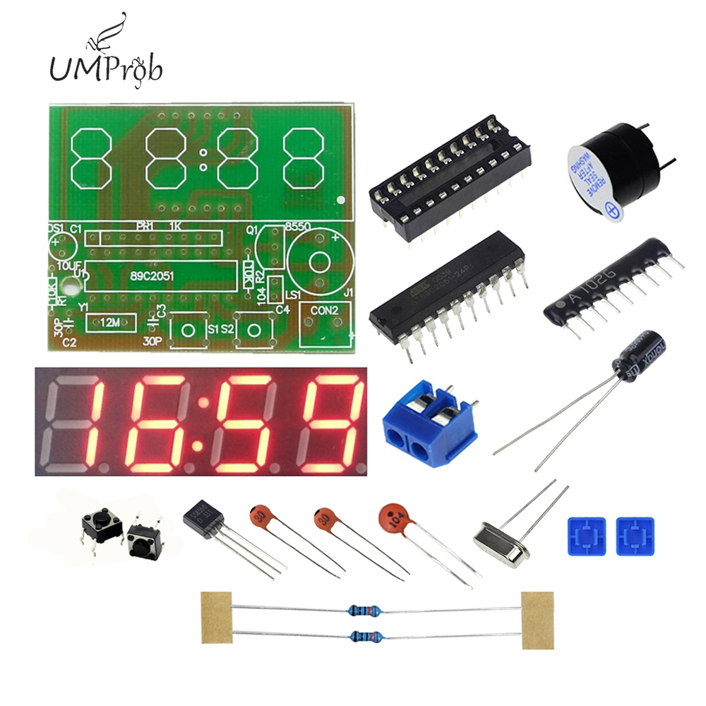 C51 Electronic Clock 4 Bits Electronic Clock Electronic Production Suite for school education lab DIY Kit-in Integrated Circuits from Electronic Components & Supplies