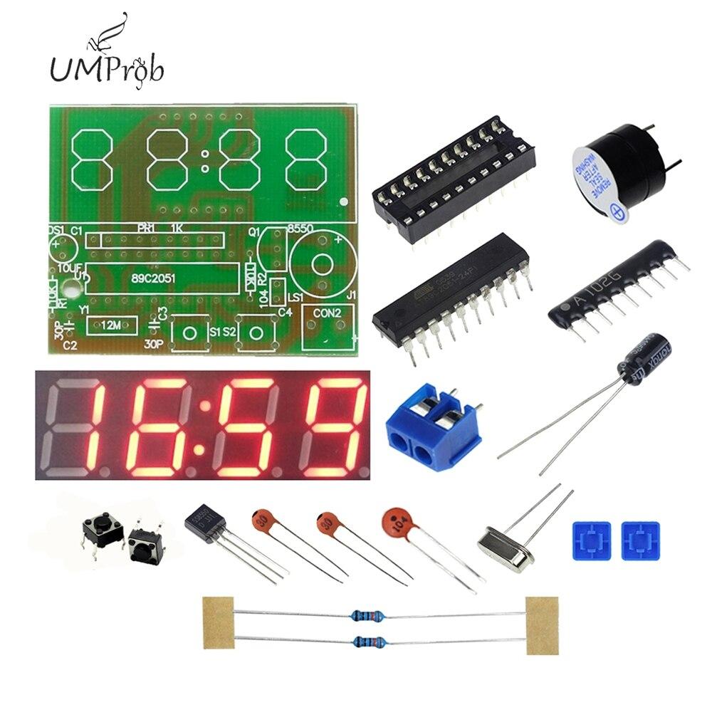 C51 Electronic Clock 4 Bits Electronic Clock Electronic Production Suite for school education lab DIY Kit