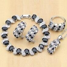 Серебряные ювелирные изделия 925, черно белые Ювелирные наборы с фианитами для женщин, серьги/кулон/кольца/браслет/ожерелье