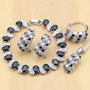 Image 1 - Prata 925 jóias preto e branco cz conjuntos de jóias para mulheres brincos/pingente/anéis/pulseira/colar conjunto
