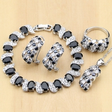 Silver 925 Jewelry Black and White CZ Jewelry Sets for Women Earrings/Pendant/Rings/Bracelet/Necklace Set
