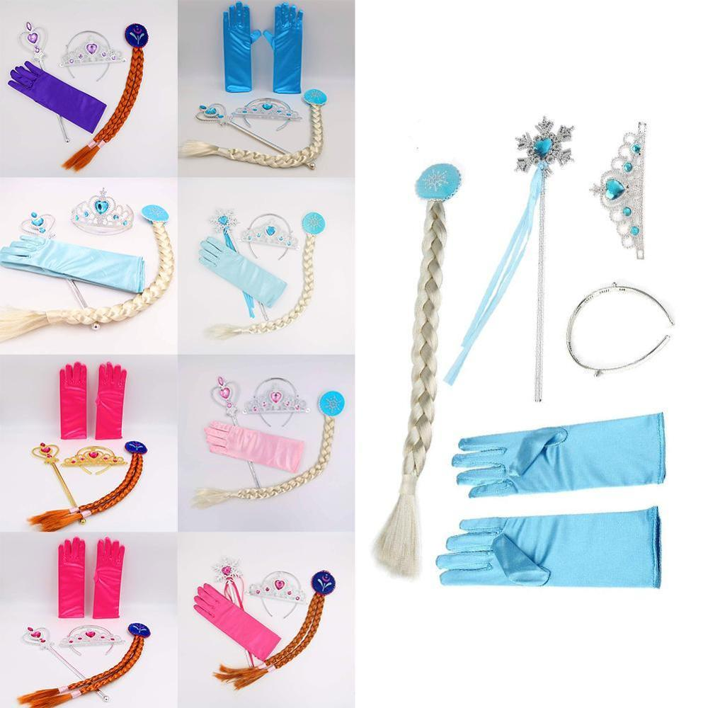 4Pcs 9 Styles Elsa Anna Cosplay Toy Princess Accessories Crown Gloves Braid Wig Magic Wand Figure Toys Kids Dress Up Party Gift