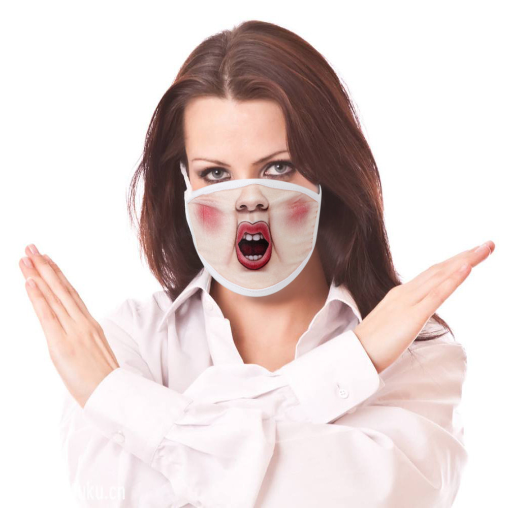 Face Mouth Muffle Mask Creative Unisex Woman Fun Anime Funny Expression Emotional Anti-Dust Warm Face Mask K919