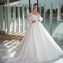 Ashley Carol Renda Bola Gaun Pernikahan Gaun 2020 Puff Sleeve Beaded Appliques Glitter Mewah Putri Pengantin Gaun Vestido De Novia(China)