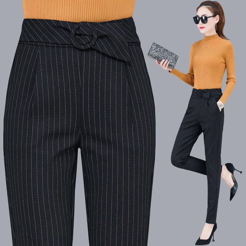 Stripe Casual Office Pencil Pants Elastic High Waist Harem Pants Women Spring 2020  Women Trousers Plus Size Ankle Length Pants
