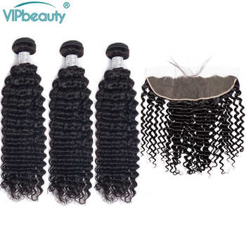 Vipbeauty Malaysian Deep Wave 13x4 Lace Frontal Closure with Bundles Remy Hair Human Hair Bundles with Closure - DISCOUNT ITEM  60% OFF All Category
