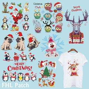 Christmas Patches For Clothing DIY Heat Transfer Stickers Washable Iron on Patches Snowman reindeer hat dog owl Sticker T-shirt