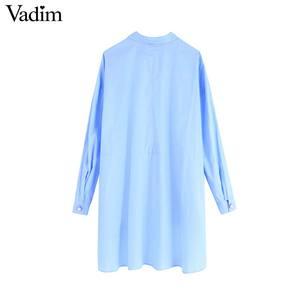 Image 3 - Vadim נשים אופנתי מוצק סדיר חולצות גדול ארוך שרוול חולצות נקבה מקרית loose ארוך סגנון חולצות blusas mujer LB760