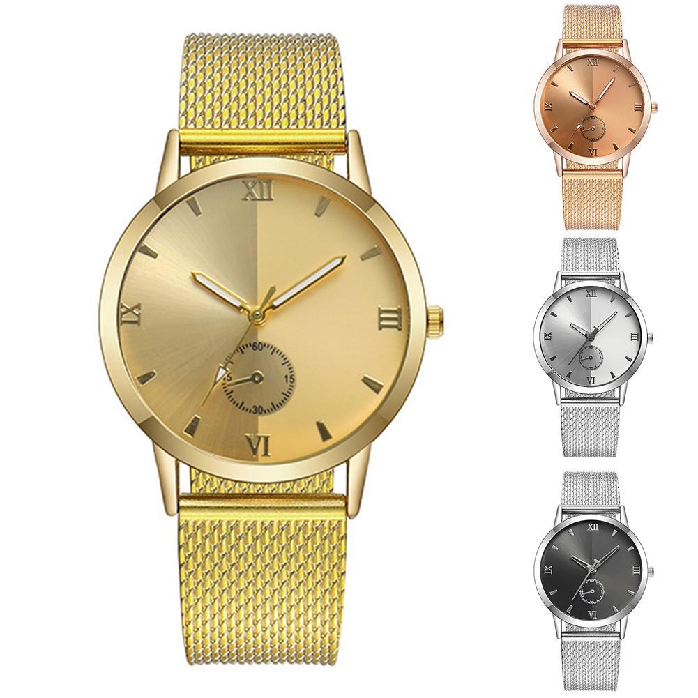 2019 New Popular Couple Watch PVC Mesh Alloy Strap Men's Quartz Watch Simple Universal Roman Scale Ladies Wrist Watches