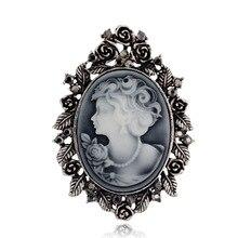 Retro beauty head brooch studded brooch alloy hollow set gem brooch clothing accessories factory outlet rhinestone faux gem halloween spider brooch