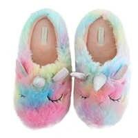 Millffy unicorn shoes cortoon rainbow comfy home indoor warm women animal slippers