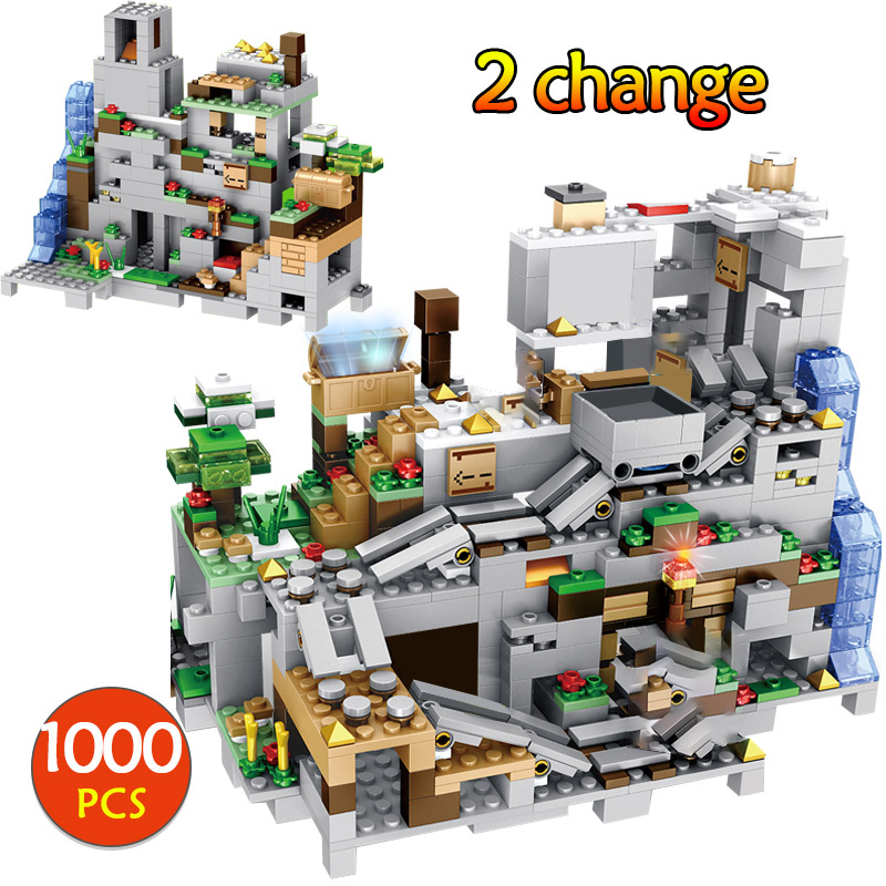 <font><b>1000PCS</b></font> Diy Creator Technic Building Blocks Cave Can Be Liftabled Fortress Bricks Toys For Kids Gifts image