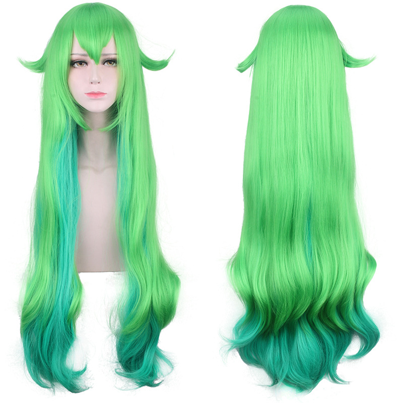 LOL Star Guardian Lulu Green Blue Mixed Color Curly Long Synthetic Hair Heat Resistant Cosplay Halloween Carnival + Free Wig CapGame Costumes   -