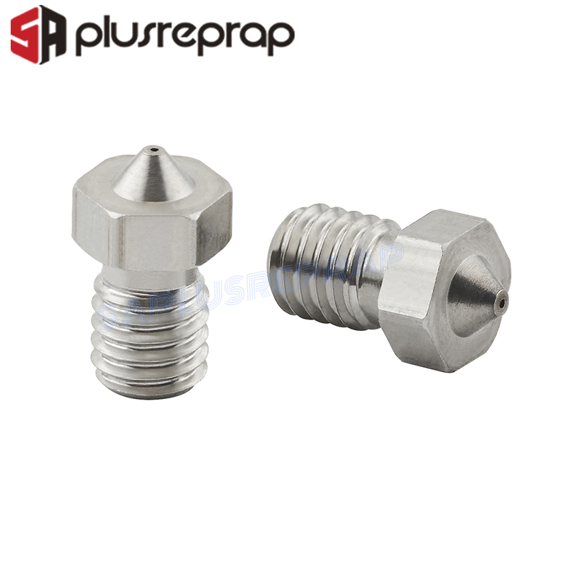 5pcs/lot V5 V6 Stainless Steel Nozzle 0.3mm 0.4mm 0.5mm Threaded M6 for 3D Printers Parts 1.75mm Filament