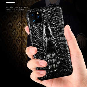 Image 2 - Luxury Genuine Fhx mqk 3D Dragon Head Grain Cow Leather phone case For iPhone 11 Pro Max X XS Max XR 6 6s 7 8 Plus cover cases