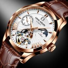Louie Juelen Top Merk Mannen Mechanische Horloge Luxe Automatische Horloge Roestvrij Staal Business Maanfase Horloge Reloj Hombre