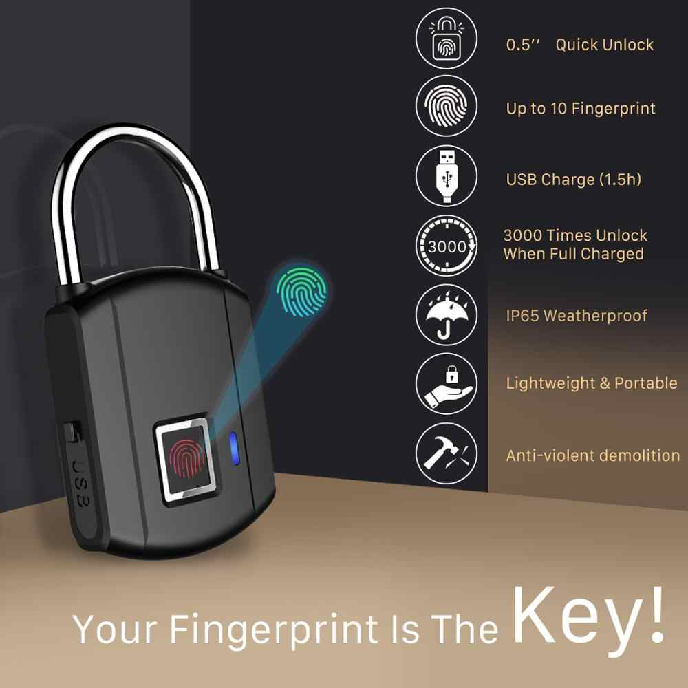 ANBIUX Blocco Delle Impronte Digitali Smart Lucchetto Thumbprint Porta Lucchetti Portatile Anti-Furto di Blocco Delle Impronte Digitali per il Sacchetto Cassetto Valigia IP65