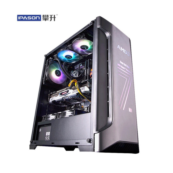 IPASON Gaming Computers AMD R7 3700X Dedicated Card RX5700 8G 256G SSD DDR4 16G RAM For Game PUBG Assembly Desktop Gaming PC