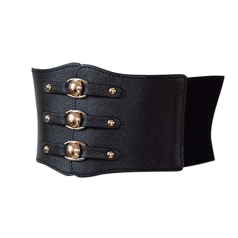 Women Vintage PU Leather Double-breasted Wide WaistBand