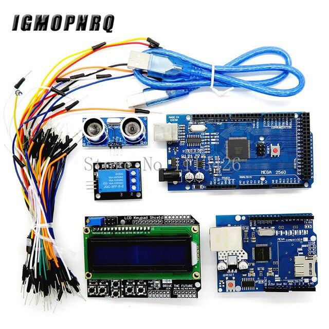Mega 2560 r3 for arduino kit + HC SR04 +breadboard cable + relay module+ W5100 UNO shield + LCD 1602 Keypad shield