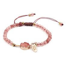 2019 Natural Stone Bracelets for women Rope Chain Bracelet Handmade Quartz Jewelry for Women fyjs unique handmade weave natural rose pink quartz pendant rope chain necklace cylinder jewelry