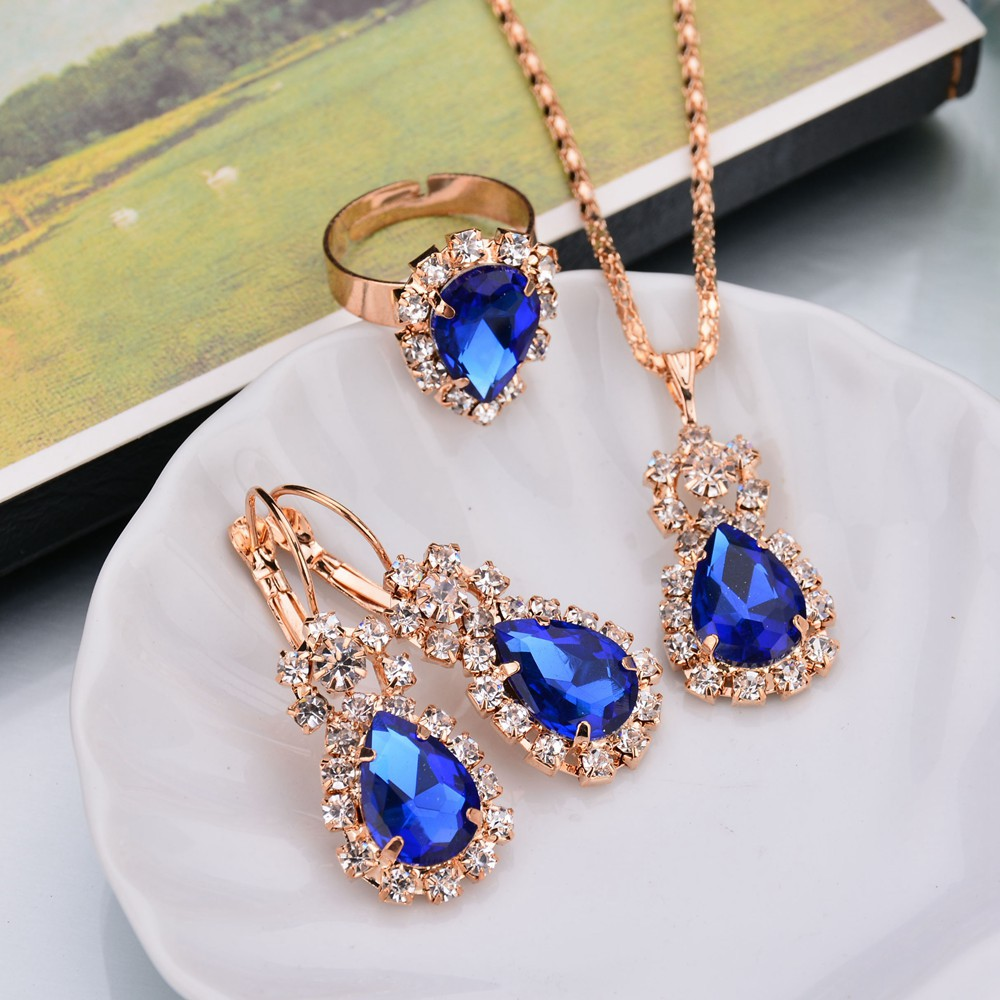 Trendy Rose Gold Color Crystal Necklace Earring Bracelet Ring Set Simple Classical Atmosphere Rhinestone Jewelry For Wedding